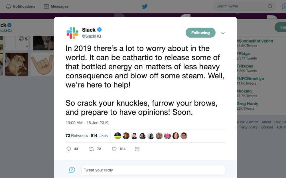 Slack news annoucement