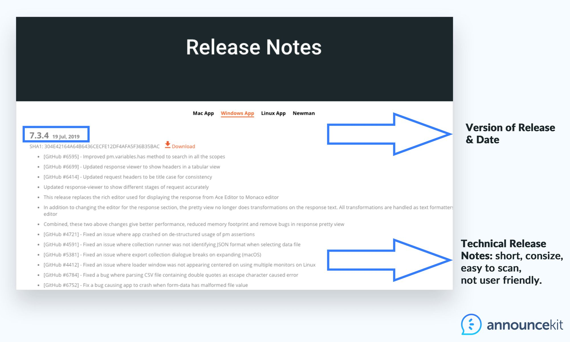 Release notes examples and app