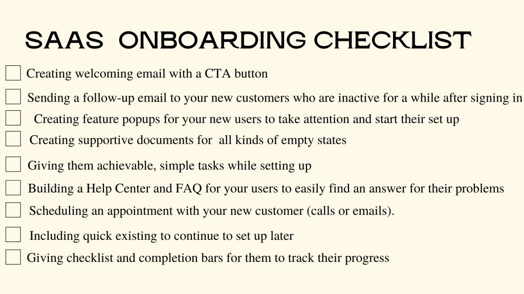 Saas onboarding checklist