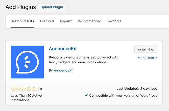 Official Wordpress Plugin - AnnounceKit